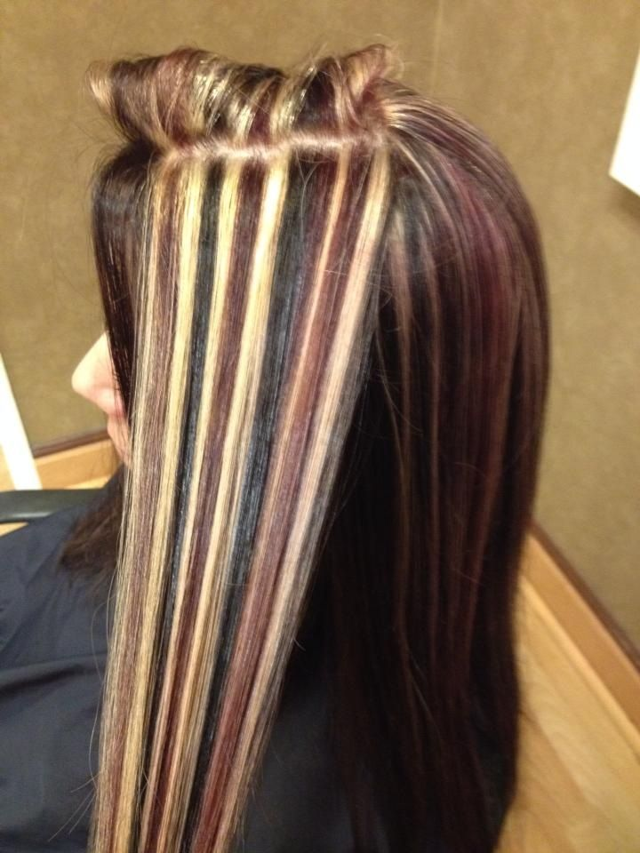 Blonde black red brown lowlites highlites.  Used to have my hair done like this all the time..   I think I will do it again.. loved it..