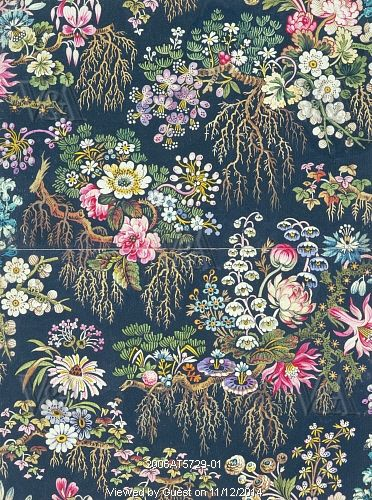 Flowered textile design, by William Kilburn. England, late 18th century. Watercolour design c1790.