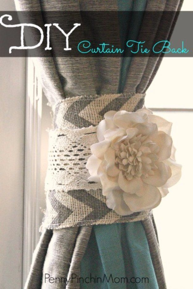 DIY Living Room Decor Ideas - DIY Curtain Tie Back - Cool Modern, Rustic and Creative Home Decor - Coffee Tables, Wall Art, Rugs, Pillows and Chairs. Step by Step Tutorials and Instructions http://diyjoy.com/diy-living-room-decor-ideas