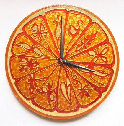 """Часы для дома ручной работы. Ярмарка Мастеров - ручная работа Часы """"Золотой апельсин"""". Handmade."""
