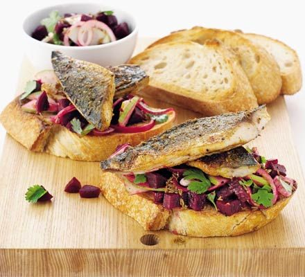 Having a mackerel moment - Spiced mackerel on toast with beetroot salsa.