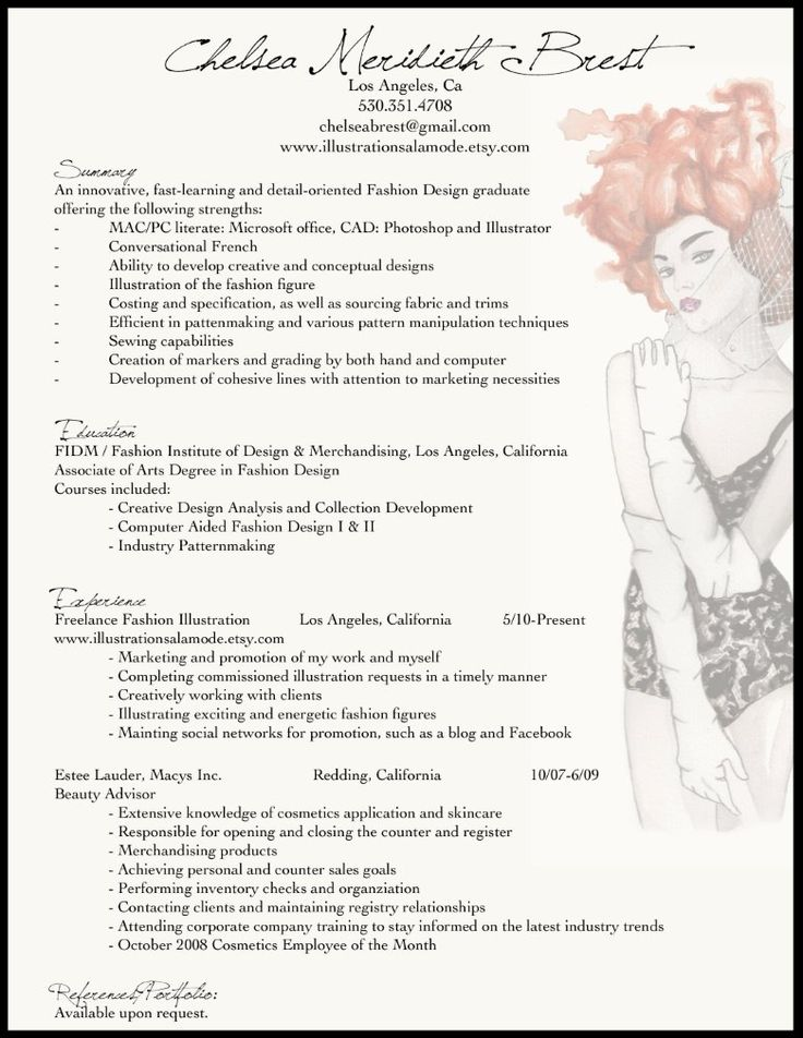 Attractive Fashion Resume Example More Throughout Fashion Design Resume