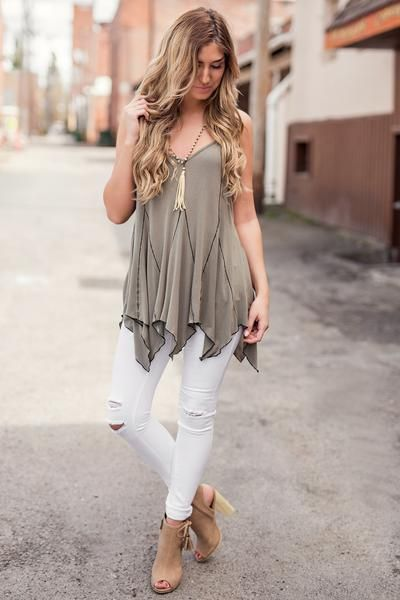 Oh Me Oh My Strappy Side Pointed Hem Sleeveless Top (Olive)