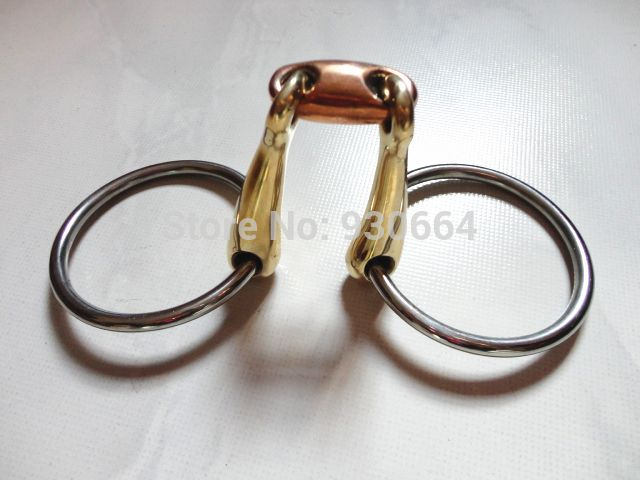 13.5cm Free Shipping Stainless Steel Ring Snaffle Bit  With Brass Mouth Horse Equipment  Wholesale  ( H0850A)