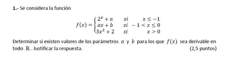 Ejercicio 1B 2014-2015 Junio. Propuesto en examen pau de Canarias. Matemática. Continuidad, derivabilidad y representación de funciones. Límites.