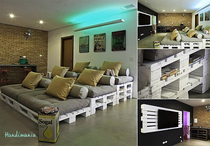 Made with old pallets DIY- media room idea