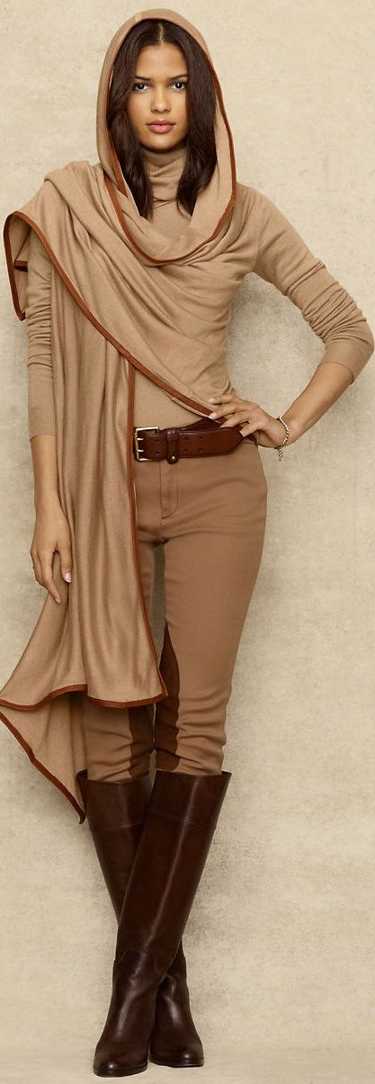 A casual hijab style by Ralph Lauren. I love the equestrian look