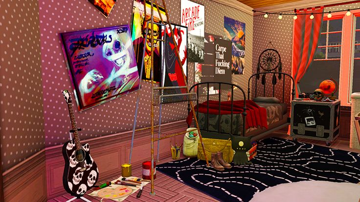 Cool punk bedroom design made in the sims 3 by pixelattic for Bedroom design simulator free