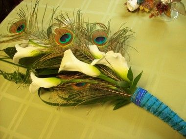 Calla Lily And Peacock Feather Bouquet In Erie PA Naturally Yours Designs