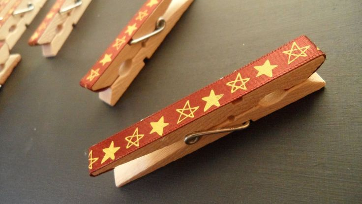 Wooden Clothes Pegs Set of 10 Covered in Star Ribbon by MysticPeg, £5.00