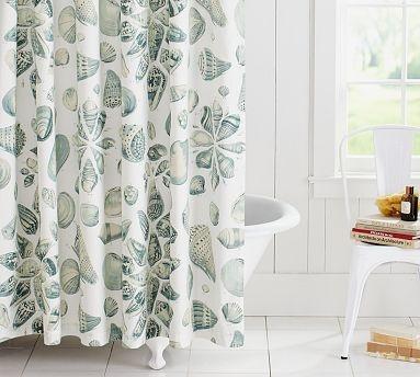 Freeport Shell Organic Shower Curtain #potterybarnShowers, Seashells Shower, Decor Ideas, Shells Organic, Guest Bathroom, Freeport Shells, Shells Showercurtain, Shower Curtains, Organic Shower