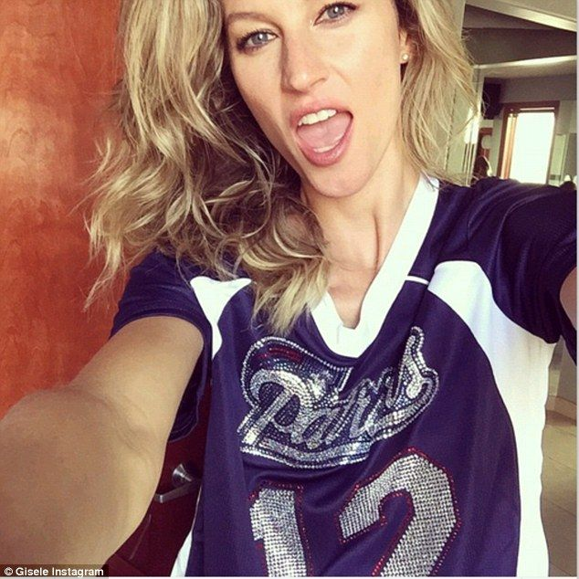 Gisele shows support for husband Tom Brady in Patriots top #dailymail