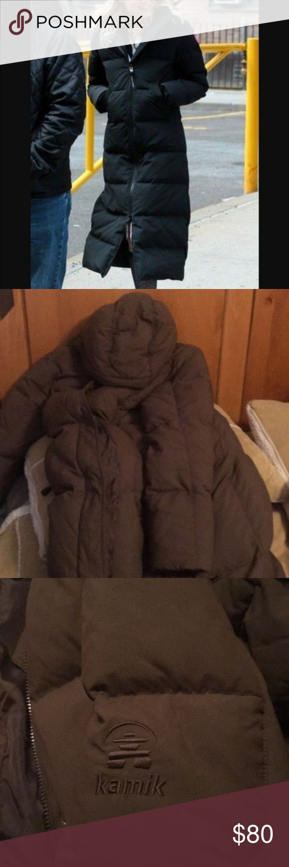 Kamik 100% Goose down maxi coat Chocolate brown full length long down coat. This is in perfect condition, only worn a couple times, flawless. Not 60/40, but 100% duck feathers with heavy quality lining and exterior with detachable hood. Kamik is similar in quality to the Canada goose down, North Face and Marmot. Kamik Jackets & Coats Puffers