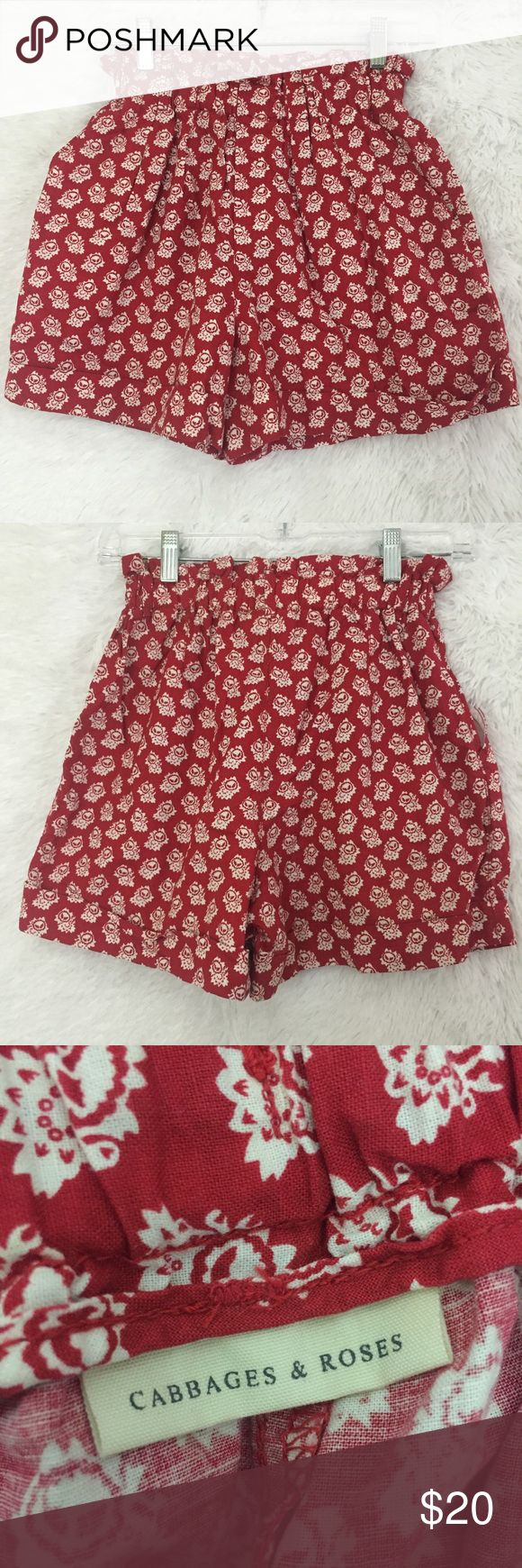 """Cabbages & Roses shorts by Uniqlo size sm (#136) These Cabbages and Roses by Uniqlo shorts are so cute.  They are a true red color with white flowers all over.  They are a size small with waist measuring 11-14"""" (unstretched to stretched), and a length of 14"""". Uniqlo Shorts"""