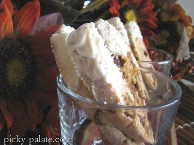 White Chocolate Dipped Cinnamon and Banana Bread Biscotti | Picky ...