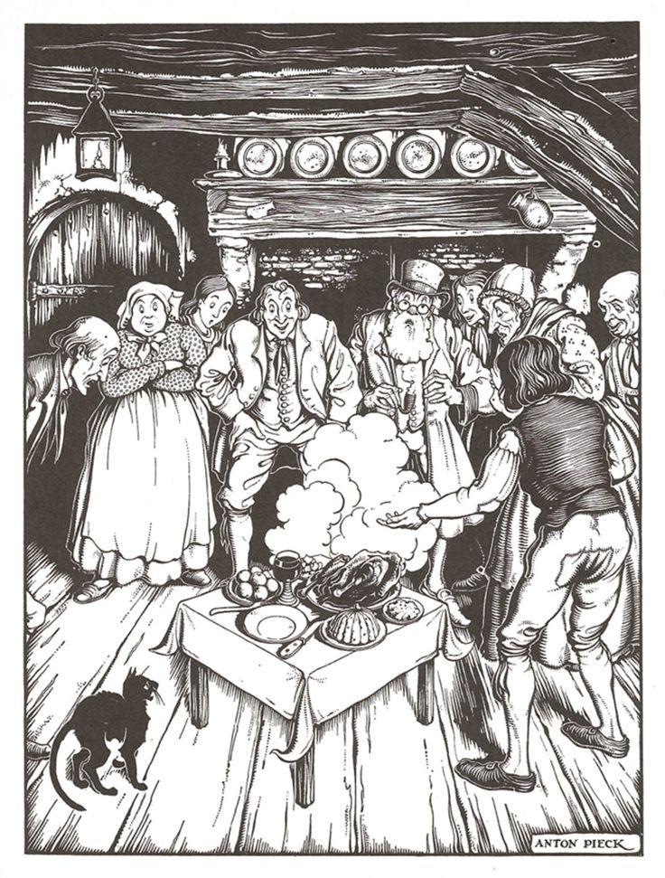 Illustratie bij Tafeltje dek je, -ezeltje strek je, knuppel uit de zak, een verhaal uit De sprookjes van Grimm, uitgave 1942. Potlood en waterverf, 39,5 x 29,5 cm.