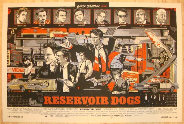"""Reservoir Dogs - silkscreen movie poster (click image for more detail) Artist: Tyler Stout Venue: New Beverly Cinema Location: Los Angeles, CA Date: 10/23/2012 Edition: 700; numbered Size: 36"""" x 24"""" C"""