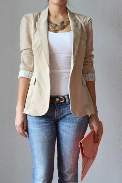 Resultado de imagen para outfits with a beige blazer women
