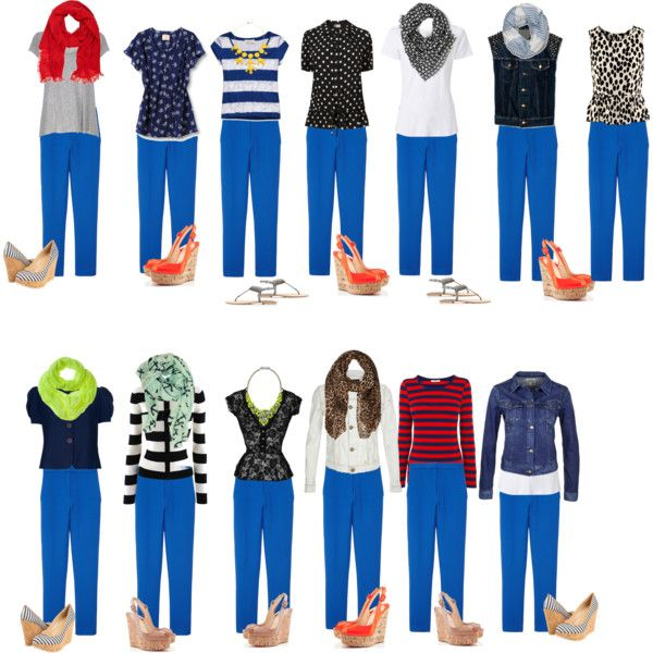 "What to Wear with Bright Blue Pants / ""Capsule Wardrobe -- S2"" by cocogolightly on Polyvore"