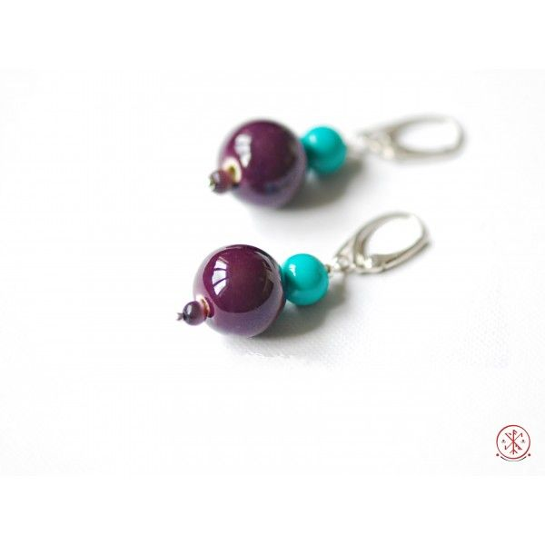 Turquoise and porcelain earrings