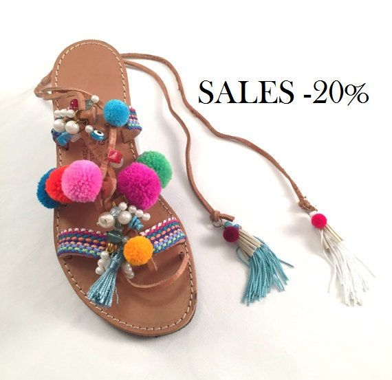 """Leather Sandals """"Summer Fun"""" (Handmade to order) boho / bohemian / pom pom / summer / gift for her / beach sandal / unique / colorful / by BlissDesigners on Etsy"""