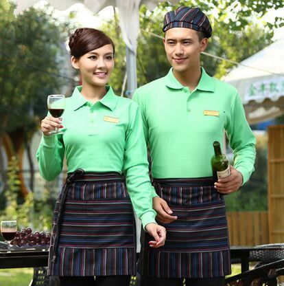 long sleeve supermarket uniforms work uniform store chinese restaurant waiter uniform waiter staff uniform(China (Mainland))
