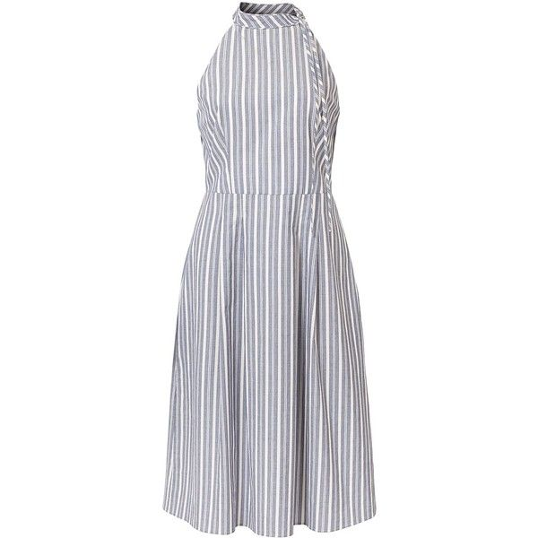 Blu/Whit Trona Stripe High Neck Dress | Oliver Bonas (€94) ❤ liked on Polyvore featuring dresses, high neck dress, military green dress, high neckline dress, olive green dress and striped dress