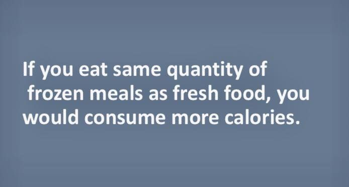 If you eat same quantity of #frozen #meals as #fresh #food, you would consume many more #calories.