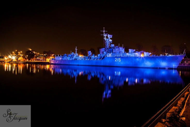 HMCS Haida.  Vessel docked in Hamilton Ontario and lit by Canadian Hero's. Long exposure.