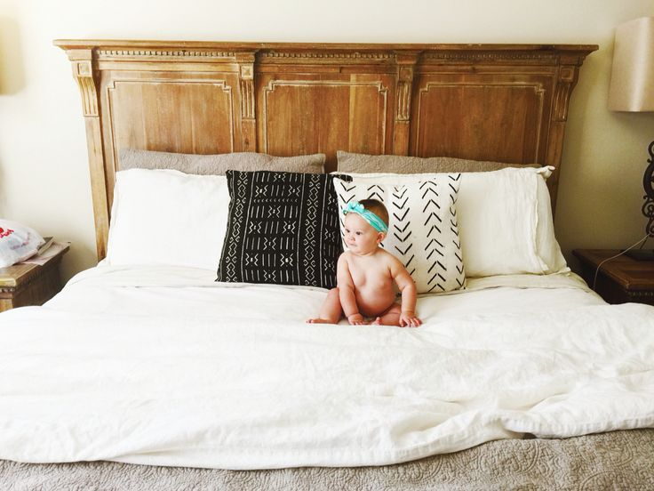 Maewoven mud cloth pillows and Restoration Hardware Bed and bedding