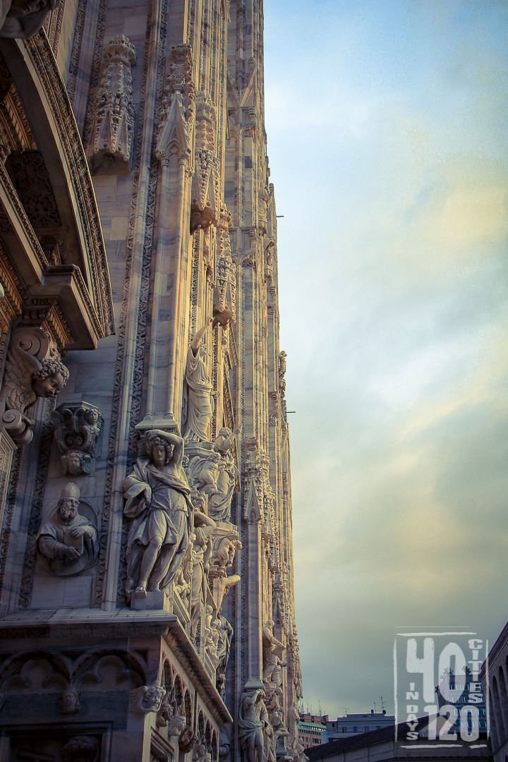 The carving of the Milan Cathedral