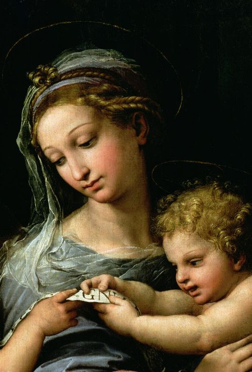 Raphael (Raffaello Sanzio da Urbino) ~ Madonna of the Rose (detail), 1516