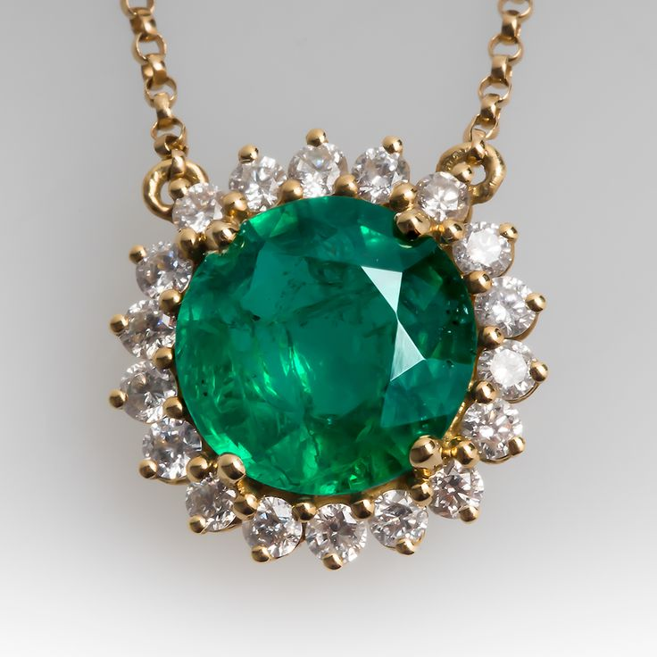 Vintage Emerald Necklace with Diamond Halo in 18k Gold