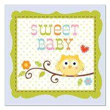 Baby Shower Owl Theme For Boys   Dessert Or Beverage Napkins Blue   $2.85.  Full