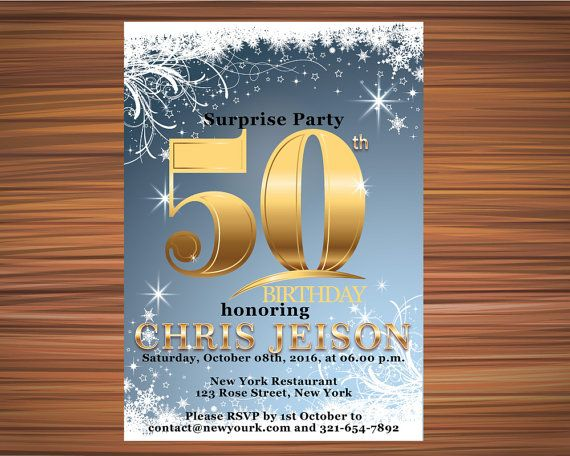 FIFTY WINTER BIRTHDAY Invitation  Fifty Stars by UniqueGoldenCards