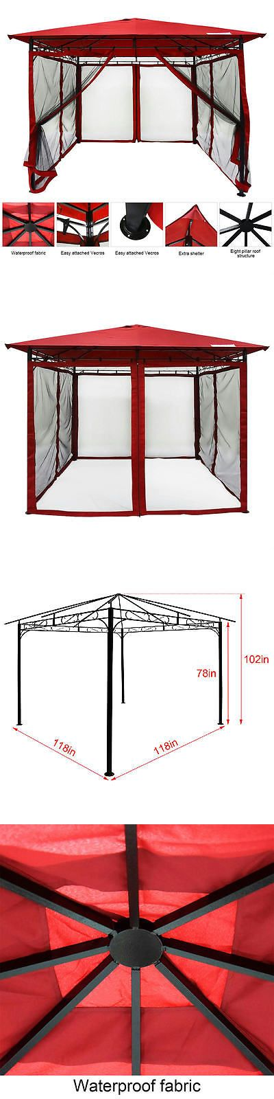 Gazebos 180995: Quictent Metal Hardtop Gazebo 10 X 10Ft Waterproof Backyard Shelter W Mesh Red -> BUY IT NOW ONLY: $209.99 on eBay!