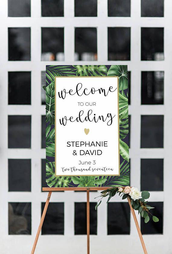 Tropical Wedding welcome sign, Tropical wedding decor, Tropical printable wedding sign, welcome to our wedding sign, large wedding sign,