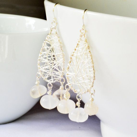 Clear Quartz Silver Wire Wrapped  Handmade Chandelier by skyepiece