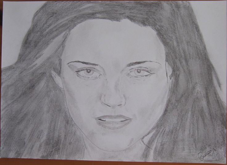 "dessin Portrait de star ""Kristen Stewart, twilight"" crayon graphite de la…"
