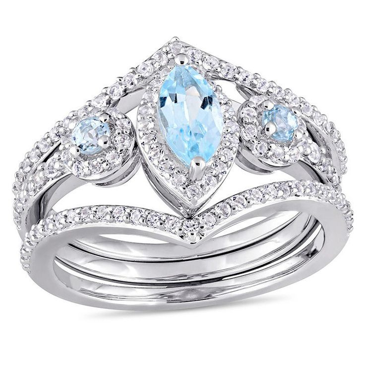 Marquise blue and white topaz frame three piece stackable