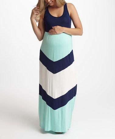 PinkBlush Navy Blue Chevron Maternity Maxi Dress by PinkBlush Maternity #zulily #zulilyfinds