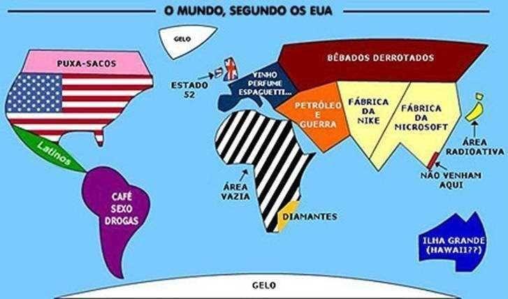 O Mapa Mundial segundo os Estados Unidos - Humor com Bobagem