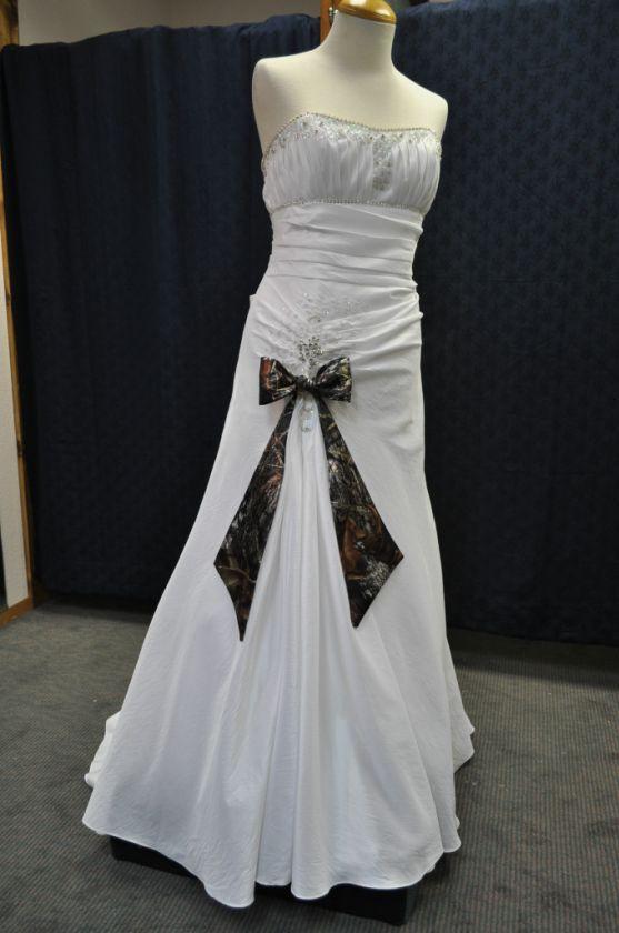 New White / CAMO WEDDING DRESS Taffeta Drop Waist Camouflage