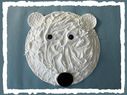 Polar Bear craft, puffy paint    paper plate, shaving cream, glue, googly eyes, makeup pads, black nose.
