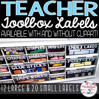 These black teacher toolbox labels are a simple and clean way to organize all your necessary teacher materials!The labels are available with and without clipart. They are also available in soft brights!PLEASE NOTE: These labels have been designed to fit the Stack On DS 22 Drawer Storage Cabinet.