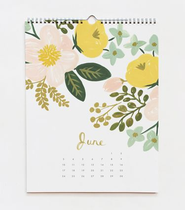 2012 Botanical Calendar,flowers, june, illustration, painting, pretty colours
