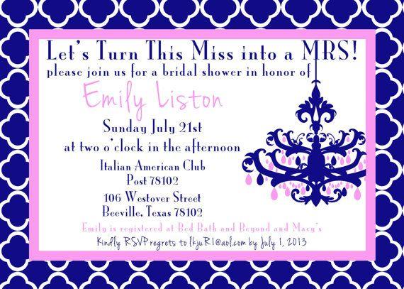 Bridal shower invite. 5x7 printable design by GoToGirlSignDesigns, $15.00