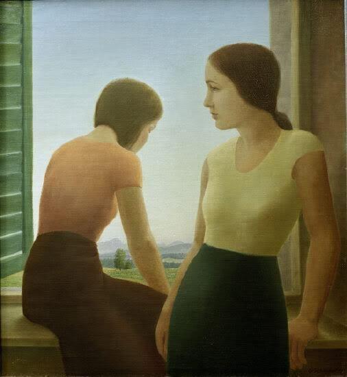 オグル・ゲシュリンプフ「窓辺の二人の少女」(1930)ゲオルクShrinpf - ウインドウで二人の少女#新即物主義