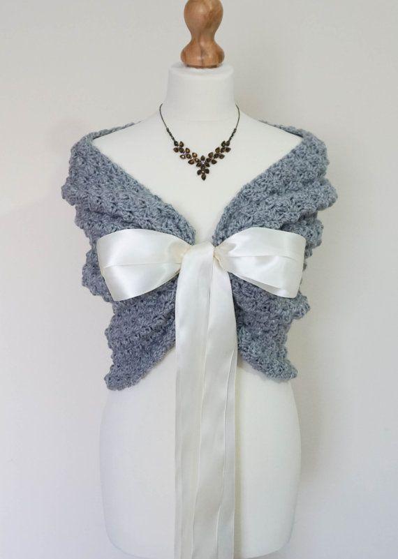 Wraps sjaals, Gray bruiloft Cape, Bridal stal, gehaakte omslagdoek met lente bruiloft Bolero jasje, bruids Wrap, bolero voor bruidsmeisje, gehaakte Bolero