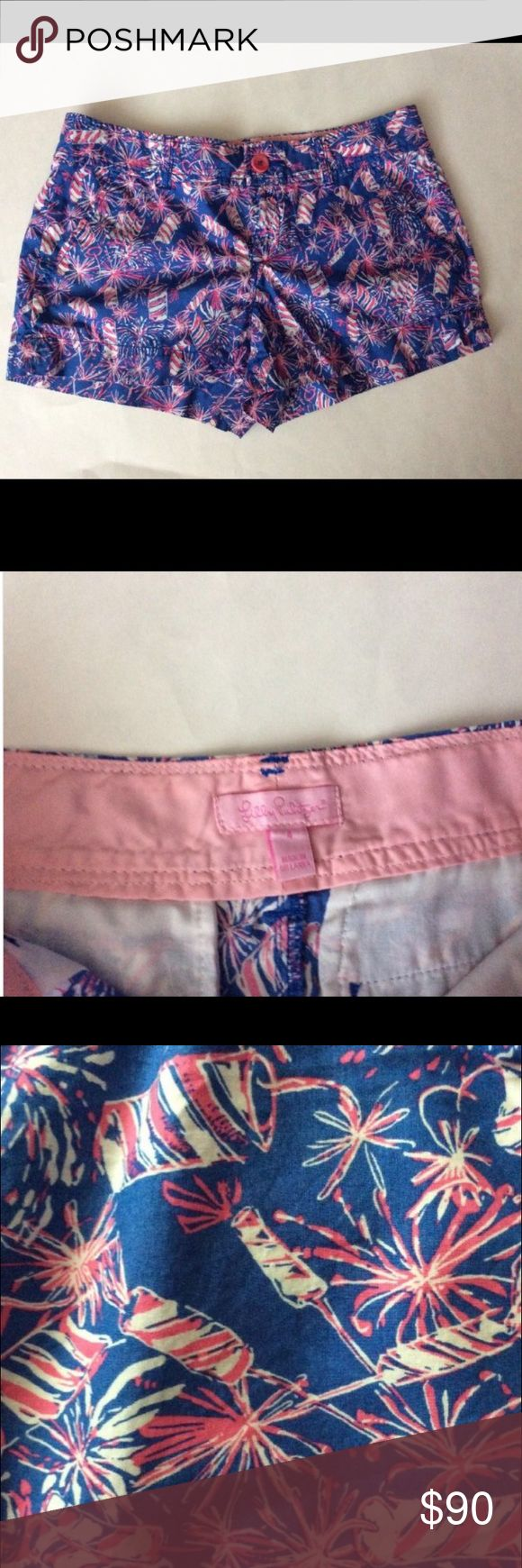 Lilly Pulitzer Cherry Bomb Firework Walsh Shorts 4 Rare and hard to find Cherry Bomb print by Lilly Pulitzer. Walsh style shorts. Holy grail print!! Absolutely no tears or loose threads, fabric is in beautiful condition, no fading!!  Measurements: Size: 4 Across waist: 15in Outerseam: 10in Inseam: 3in Lilly Pulitzer Shorts